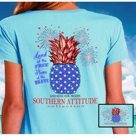 Southern Attitude Land Of The Free USA Pineapple T-Shirt