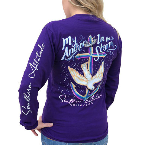 Southern Attitude Preppy Anchor In The Storm Purple Long Sleeve T-Shirt