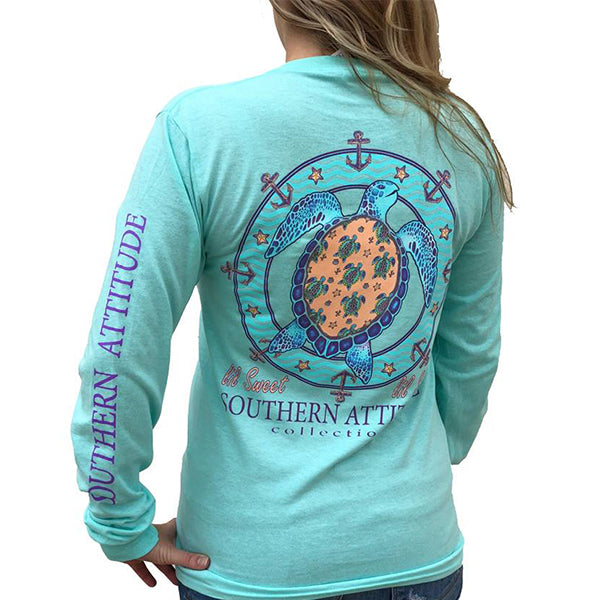 Southern Attitude Preppy Lil Snappy Turtle Seafoam Long Sleeve T-Shirt