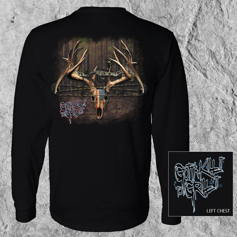 Gotta Kill It To Grill It USA Bow Deer Skull Unisex Long Sleeve T-Shirt