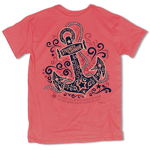Southern Vine Originals Strength Honor Anchor Coral T-Shirt