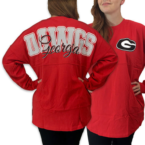 Georgia Bulldogs Women's Preppy Logo Sweeper Long Sleeve Oversized Top Shirt