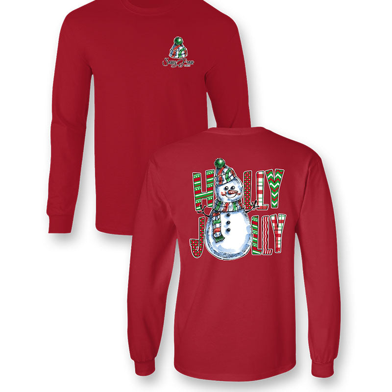Sassy Frass Holly Jolly Christmas Snowman Long Sleeve T-Shirt