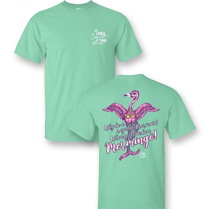 Sassy Frass Preppy Mermaid Flamingo Mermingo T-Shirt