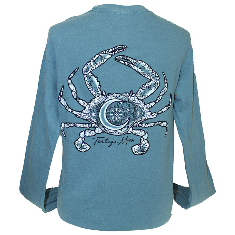 Southern Attitude Tortuga Moon Crab Ice Comfort Colors Long Sleeve T-Shirt