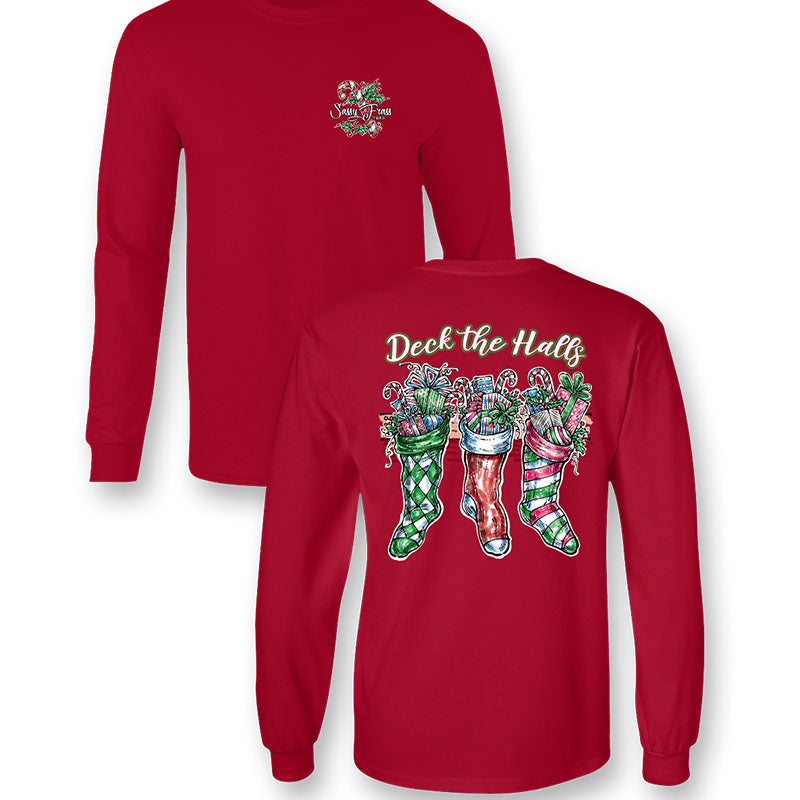 Sassy Frass Deck the Halls Christmas Stockings Long Sleeve T-Shirt
