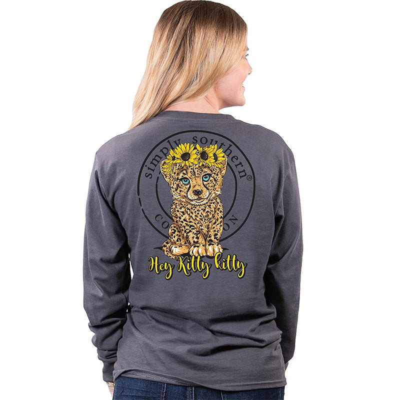 Simply Southern Hey Kitty Kitty Sunflower Long Sleeve T-Shirt