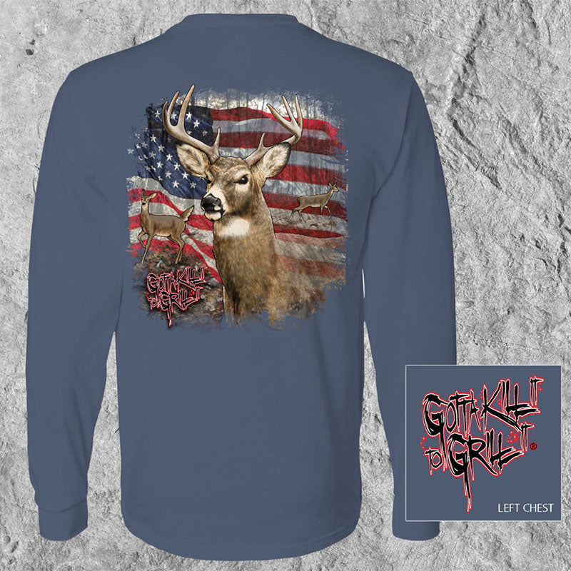 Gotta Kill It To Grill It USA Buck Deer Unisex Long Sleeve T-Shirt