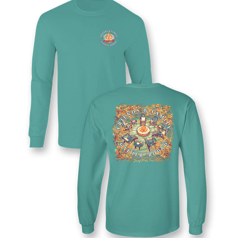 Sassy Frass Gather Round Fire Pit Fall Comfort Colors Long Sleeve T-Shirt