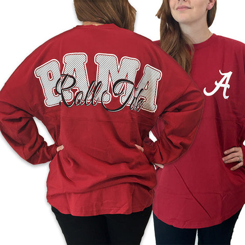 Alabama Crimson Tide Women's Roll Tide Logo Sweeper Long Sleeve Oversized Top Shirt - SimplyCuteTees