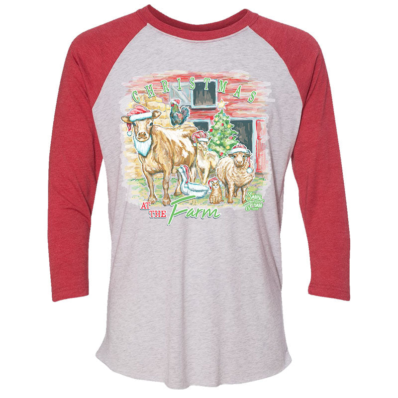 Sassy Frass Christmas On The Farm Long Sleeve Raglan T-Shirt