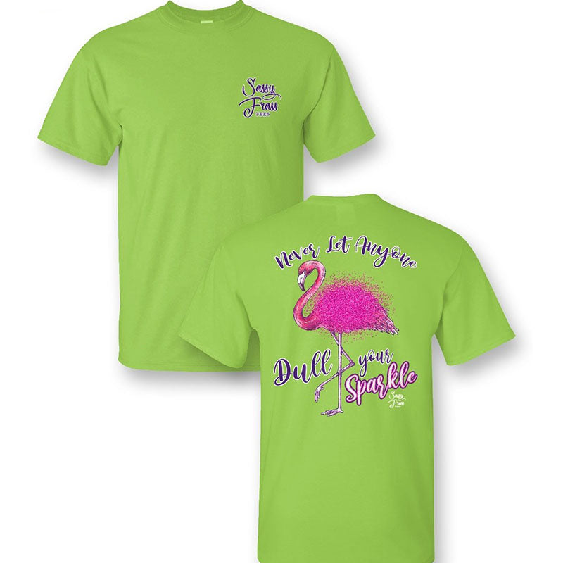 Sassy Frass Preppy Dull Your Sparkle Flamingo T-Shirt