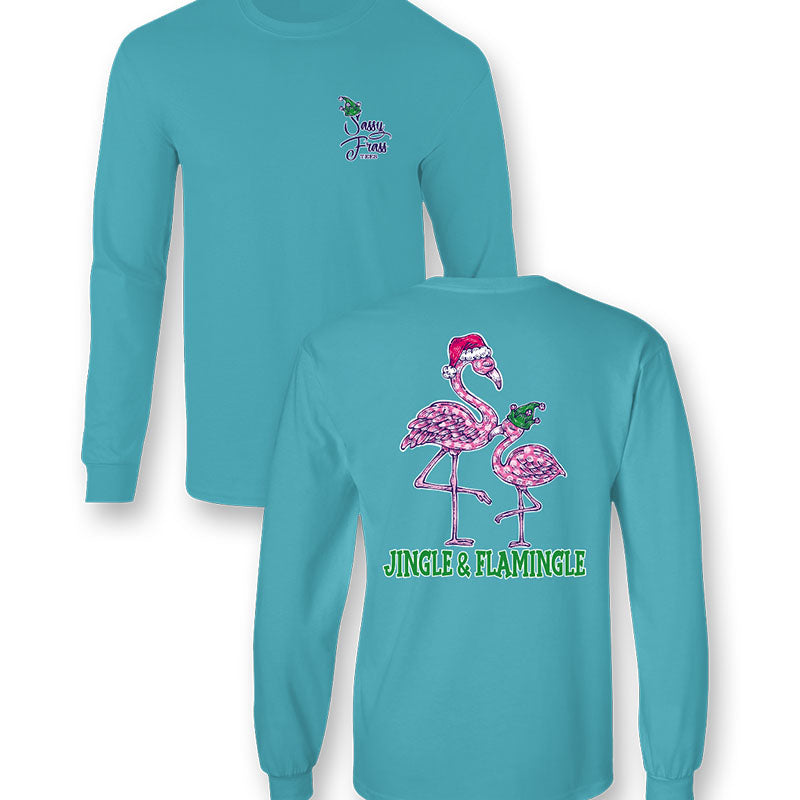 Sassy Frass Flamingle Flamingo Christmas Comfort Colors Long Sleeve T-Shirt