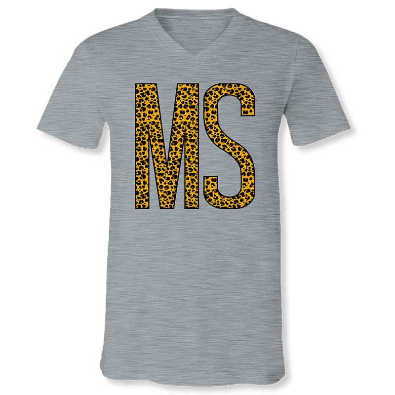Sassy Frass Mississippi Leopard V-Neck Canvas T-Shirt
