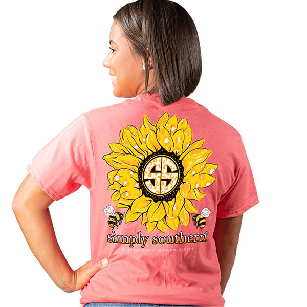 Simply Southern Preppy Bee Sunflower Logo Coral T-Shirt