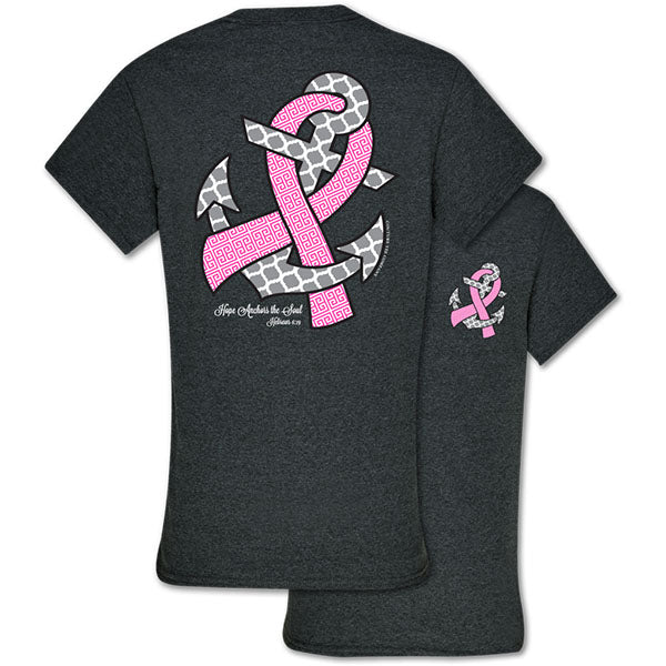 Southern Couture Hope Anchors Breast Cancer Pink Ribbon Awareness Girlie Bright T Shirt