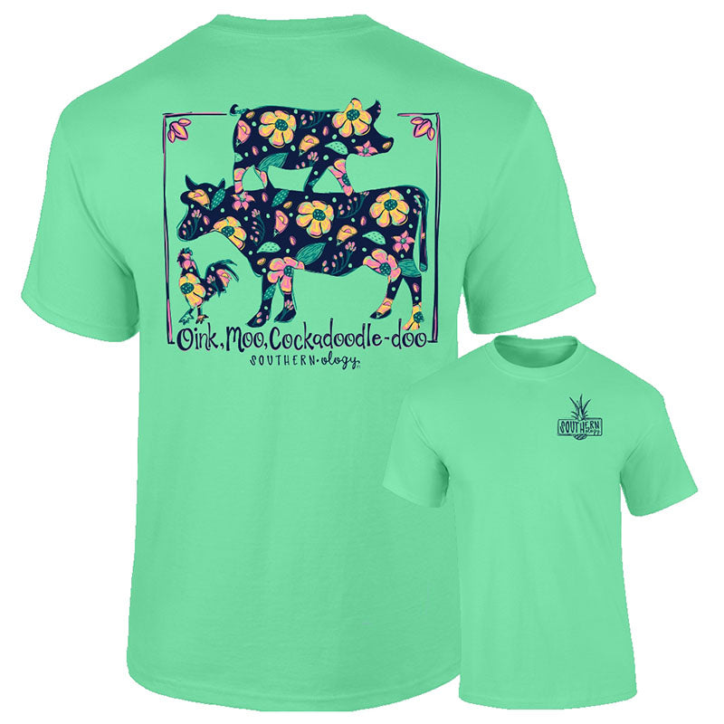 Southernology Oink, Moo, Cockadoodle-Doo Cow Pig Comfort Colors T-Shirt