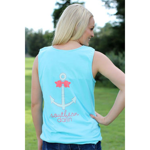 Southern Darlin Comfort Color Anchor Bow Chevron Bright Girlie T-Shirt Tank Top