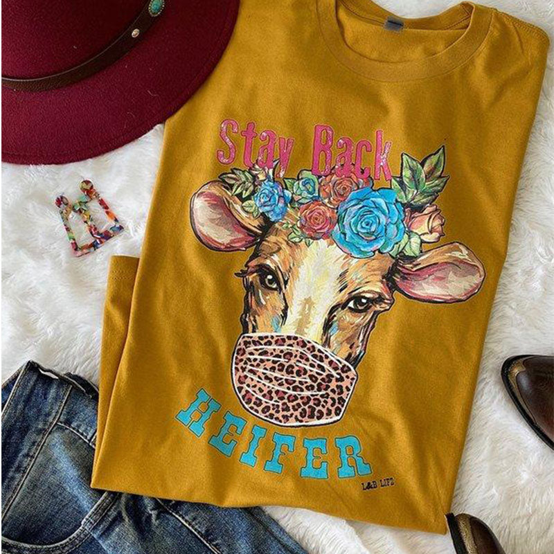 Bjaxx Lucky & Blessed Stay Back Heifer Cow Front Print T-Shirt