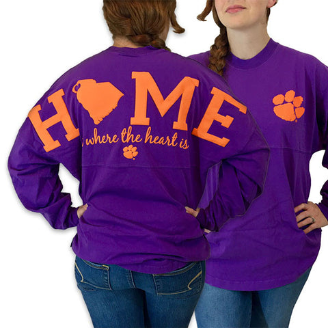 South Carolina Clemson Tigers Women's Home Spirit Jersey Long Sleeve Oversized Top Shirt