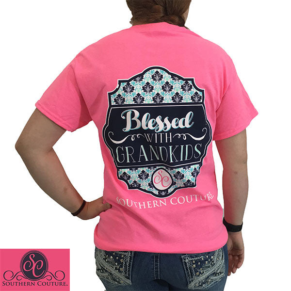 df6d6509d51 SALE Southern Couture Blessed With Grandkids Grandma Nana T-Shirt ...
