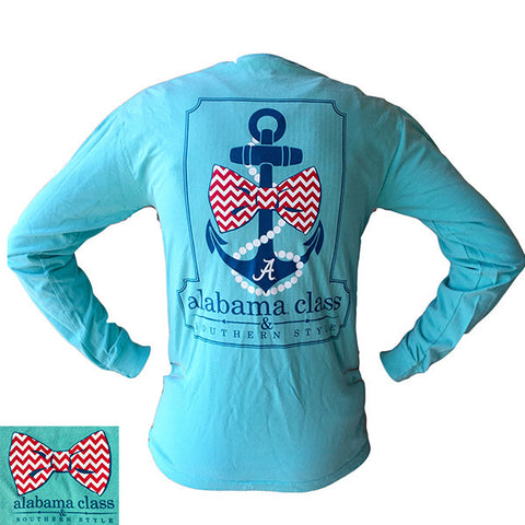 Alabama Crimson Tide Southern Class Bow Anchor Comfort Colors Chalky Mint Long Sleeves T-Shirt