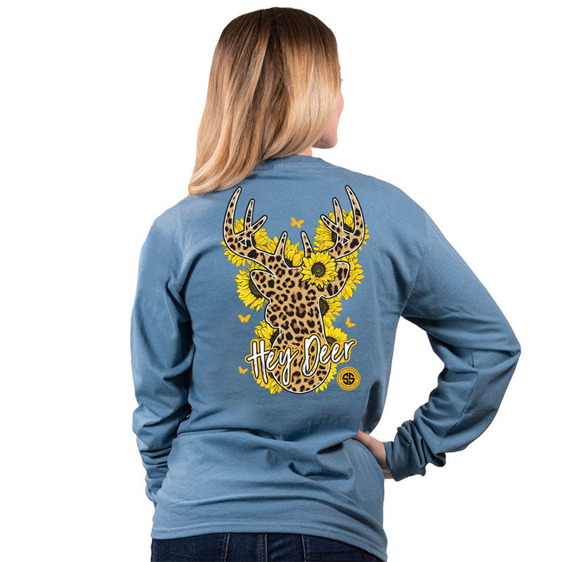 Simply Southern Sunflower Leopard Deer Long Sleeve T-Shirt