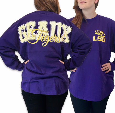 Louisiana LSU Tigers Women's Tigers Logo Sweeper Long Sleeve Oversized Top Shirt