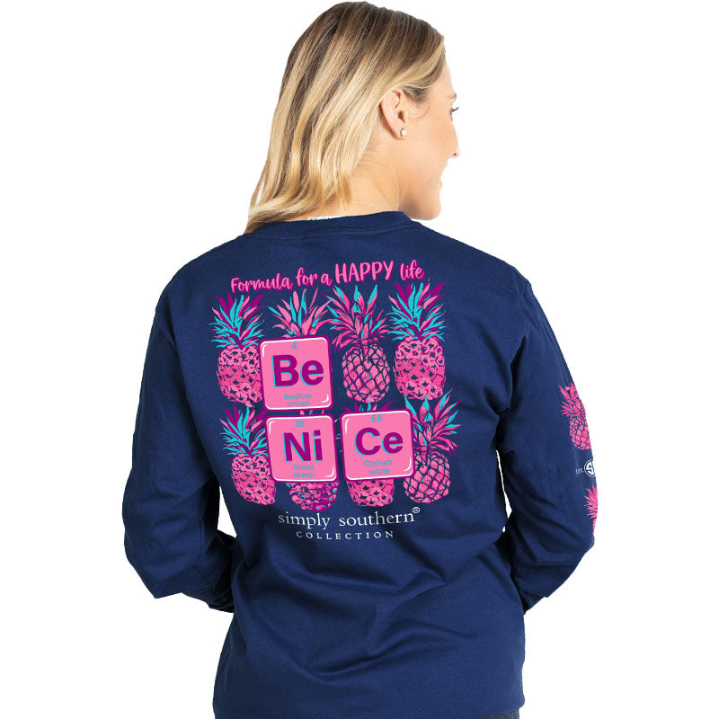 Simply Southern Preppy Be Nice Pineapple Long Sleeve T-Shirt