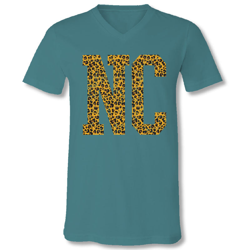 Sassy Frass North Carolina Leopard V-Neck Canvas T-Shirt
