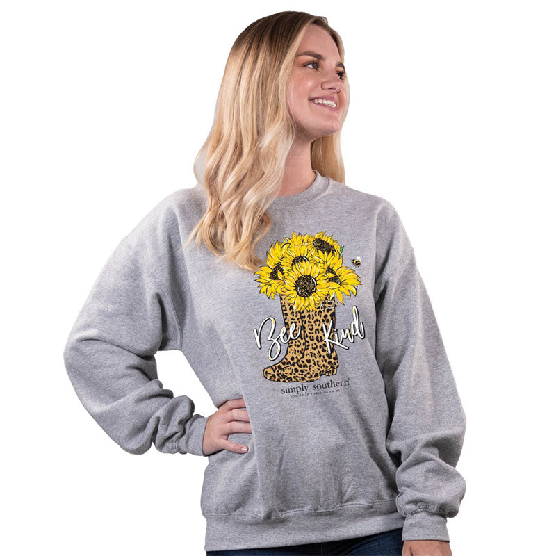 Simply Southern Bee Kind Leopard Boots Long Sleeve Crew Sweatshirt