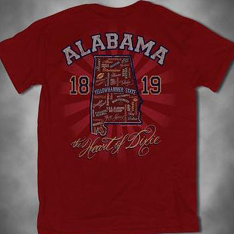 Southern Vine Originals Alabama Rambler State Heart of Dixie Bright T Shirt - SimplyCuteTees
