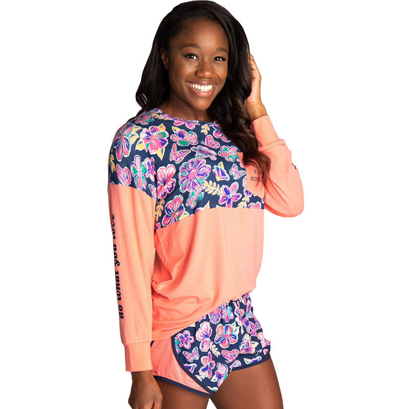 Simply Southern Preppy Butterfly Beach Long Sleeve Jersey T-Shirt