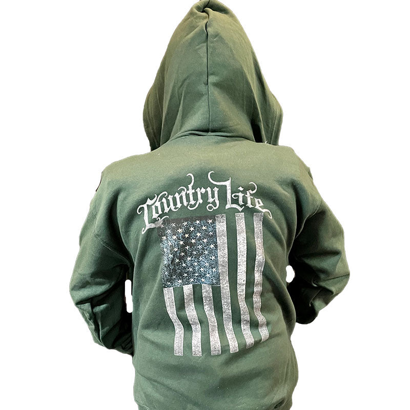 Country Life USA Flag Full Zip Unisex Hoodie T-shirt