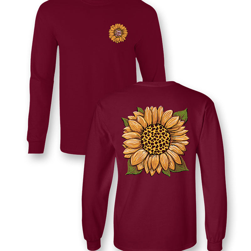 Sassy Frass Leopard Sunflower Long Sleeve T-Shirt