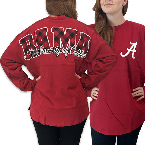 Alabama Crimson Tide Women's Plaid Logo Sweeper Long Sleeve Oversized Top Shirt - SimplyCuteTees