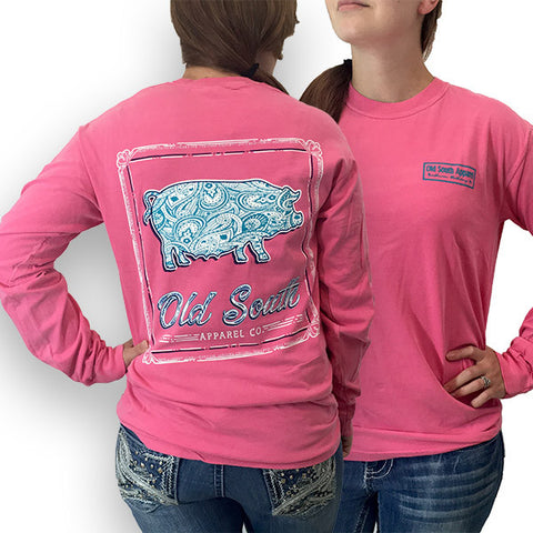 Old South Babe Paisley Pig Comfort Colors Long Sleeve T-Shirt - SimplyCuteTees