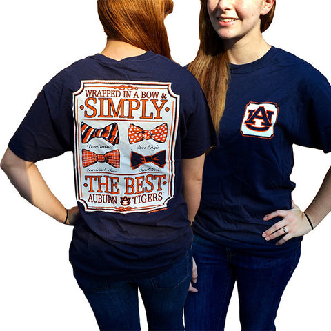 Auburn Tigers War Eagle Simply The Best Prep Bows Bright T-Shirt - SimplyCuteTees