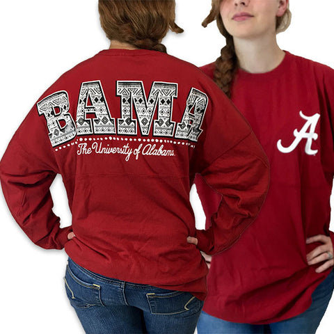 Alabama Crimson Tide Women's Aztec Logo Sweeper Long Sleeve Oversized Top Shirt - SimplyCuteTees