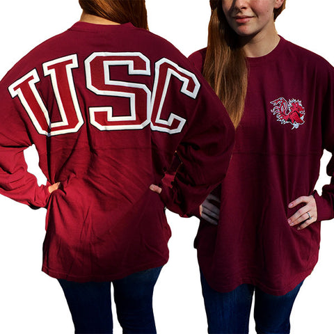 USC South Carolina Gamecocks Women's Logo Sweeper Long Sleeve Oversized Top Shirt - SimplyCuteTees