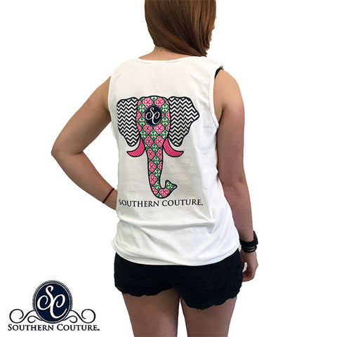 Southern Couture Preppy Elephant Chevron Pattern Comfort Colors Tank Top - SimplyCuteTees