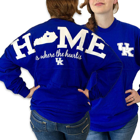 UK Kentucky Wildcats Women's Logo Home Spirit Jersey Long Sleeve Oversized Top Shirt - SimplyCuteTees