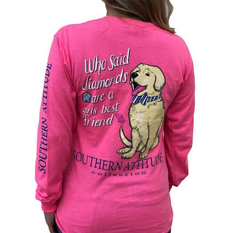 Southern Attitude Preppy Diamonds Are A Girls Best Friend Pink Long Sleeve T-Shirt