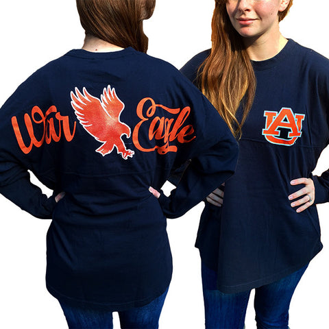 Auburn Tigers War Eagle Women's Logo Sweeper Long Sleeve Oversized Top Shirt - SimplyCuteTees
