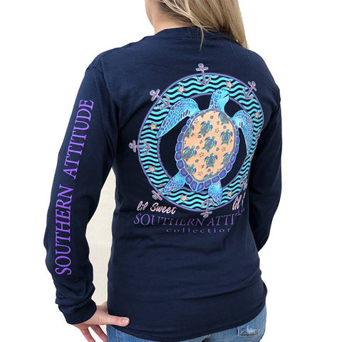 Southern Attitude Preppy Lil Snappy Turtle Navy Long Sleeve T-Shirt