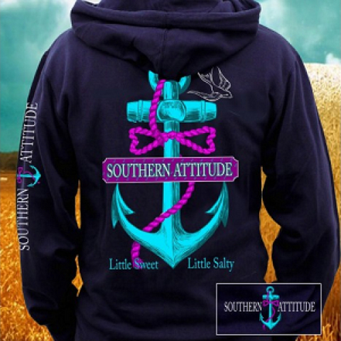 Country Life Outfitters Southern Attitude Anchor Bow Navy Vintage Girlie Bright Pullover Shirt Hoodie - SimplyCuteTees