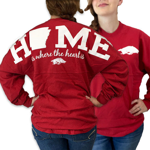 Arkansas Razorbacks Hogs Women's Home Spirit Jersey Long Sleeve Oversized Top Shirt - SimplyCuteTees
