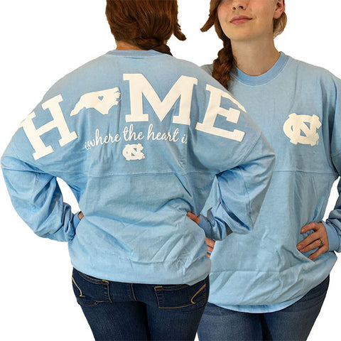 North Carolina Tar heels Women's Home Spirit Jersey Long Sleeve Oversized Top Shirt
