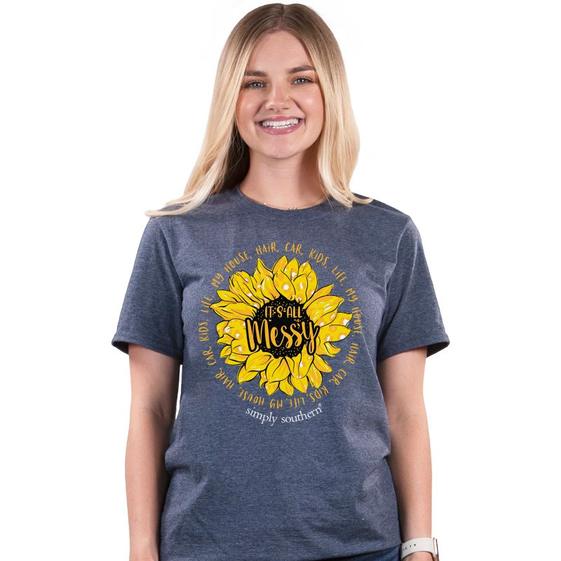 Simply Southern Preppy All Messy Sunflower T-Shirt
