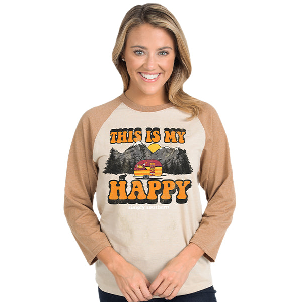 SALE Simply Southern Vintage Collection Mountain Camper Happy Long Sleeve T-Shirt